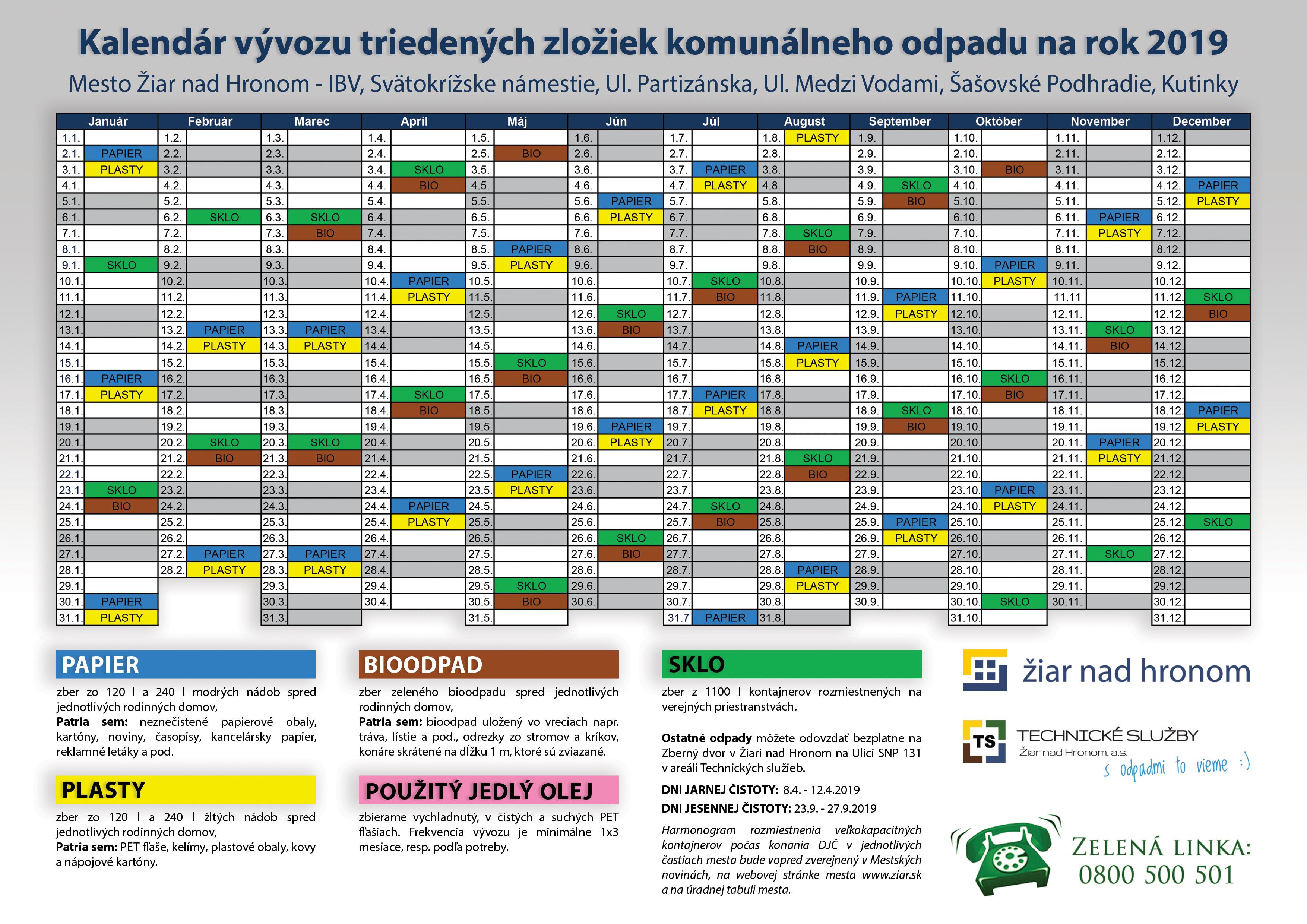 Kalendár vývozu separovaných zložiek na rok 2019