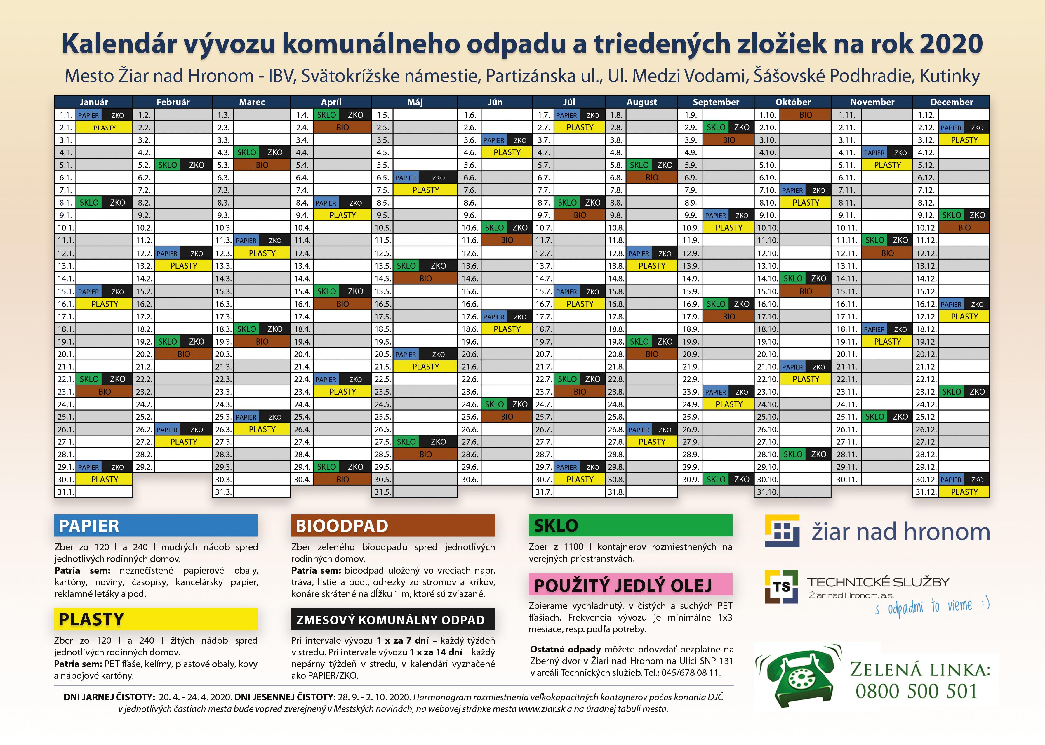 Kalendár vývozu separovaných zložiek na rok 2020