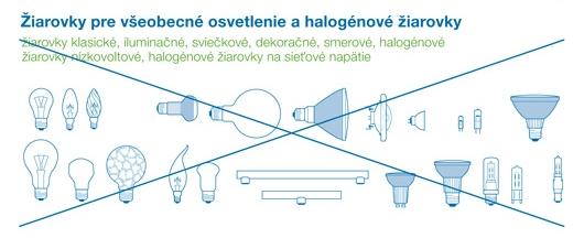 o separovaného zberu nepatria žiarovky pre všeobecné osvetlenie a halogénové žiarovky