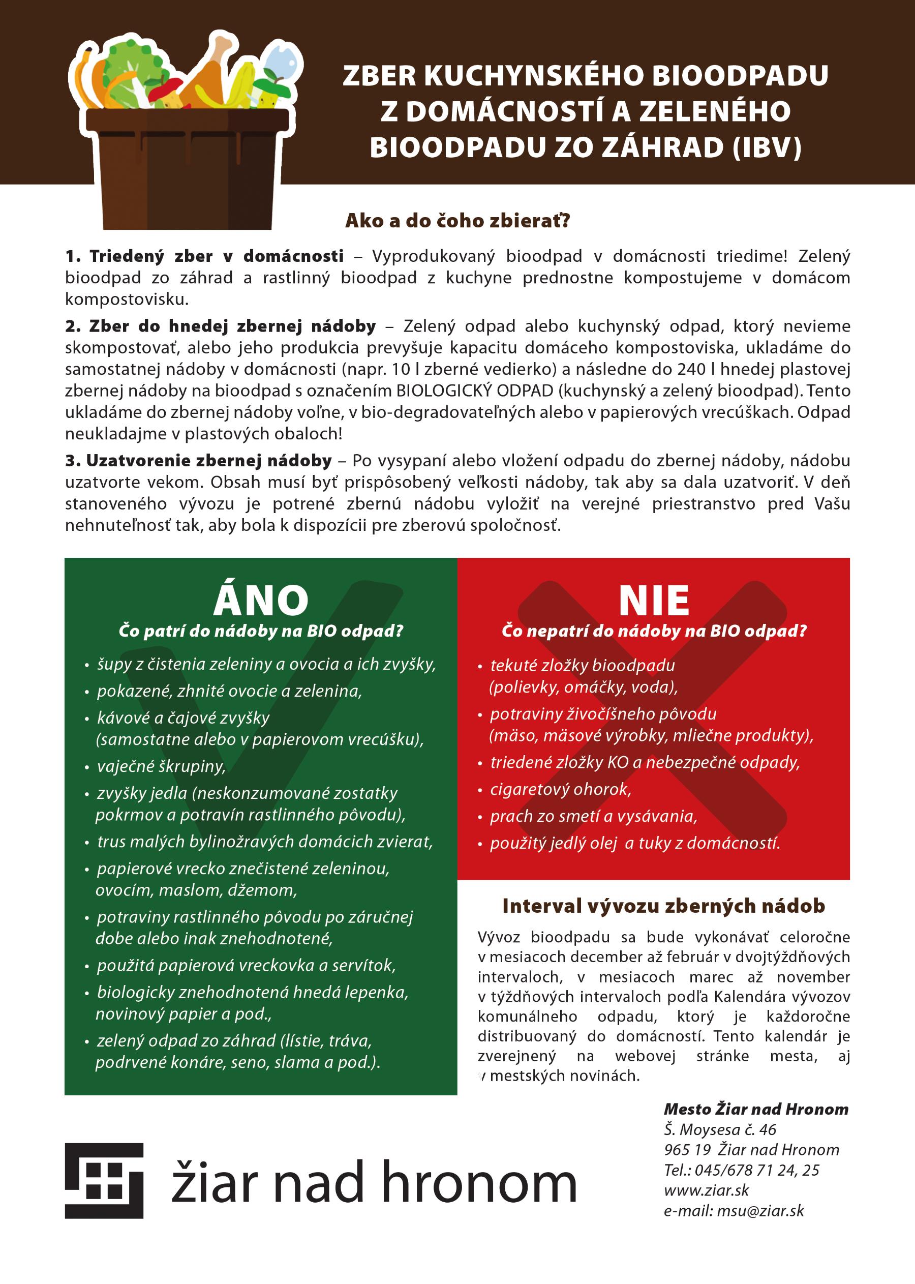 Informačný leták - zber kuchynského biodpadu z domácnosti a zeleného bioodpadu zo záhrad (IBV)