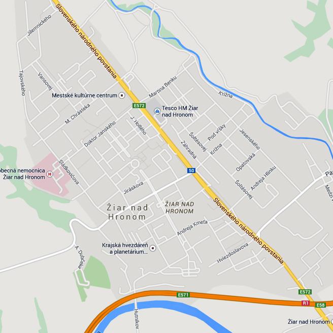 Mapa mesta Žiar nad Hronom - stránka sa otvorí v novom okne