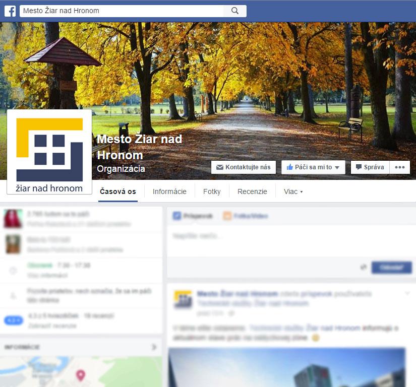 Mesto Žiar nad Hronom na Facebooku