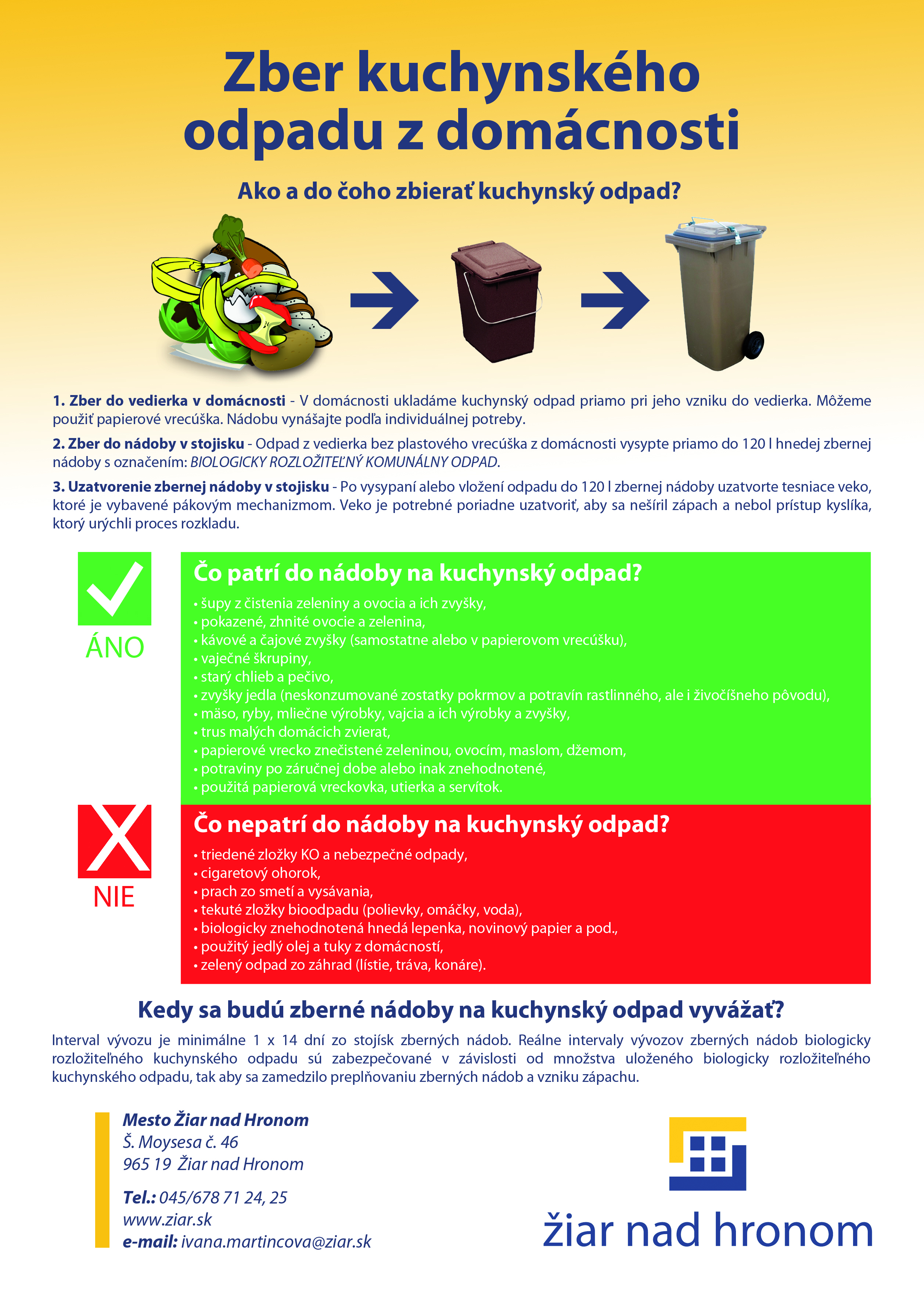 Informačný leták - zber kuchynského odpadu z domácnosti