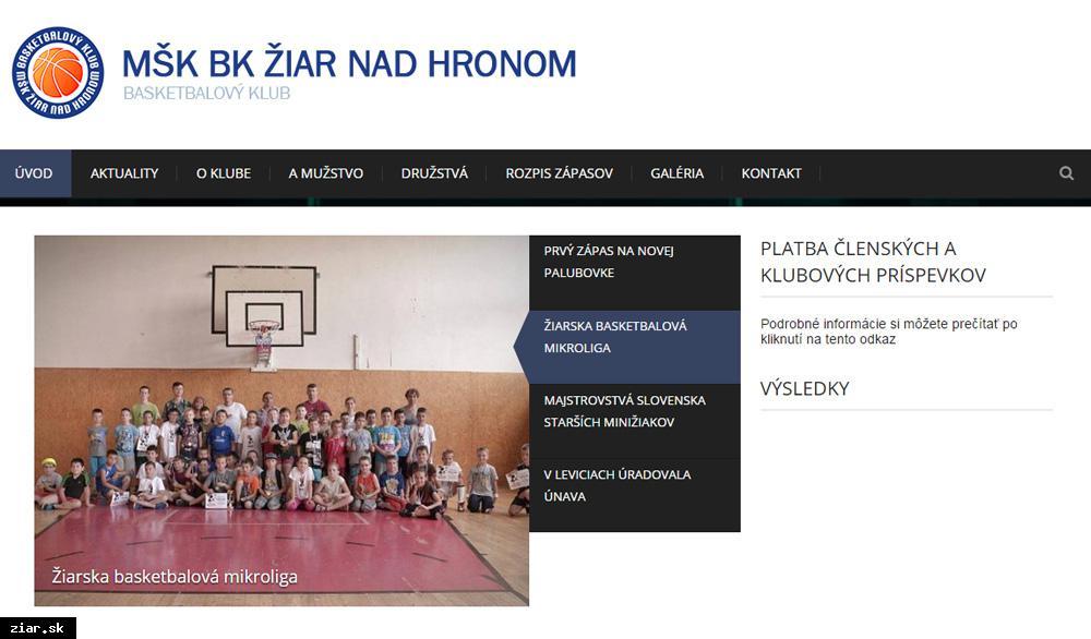 obr: Basketbalový klub má svoju webovú stránku