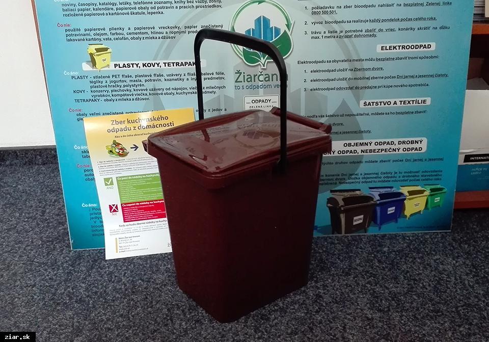 obr: Zber biologicky rozložiteľných komunálnych odpadov – kuchynský odpad z domácností