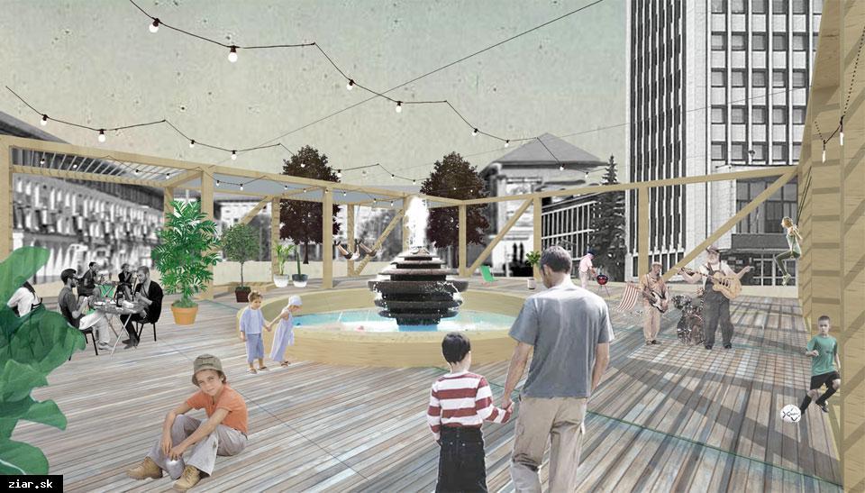 obr: Letný pavilón na námestí otvorený do konca júna