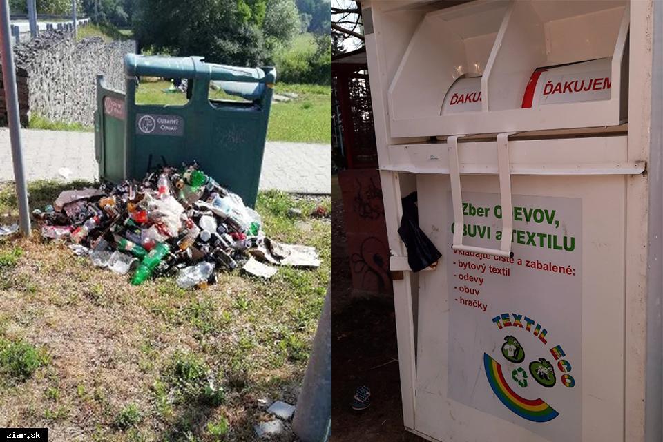 obr: Malé smetné koše na území mesta ničia vandali