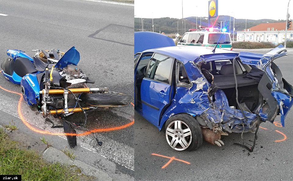 obr: Vážna nehoda motorkára